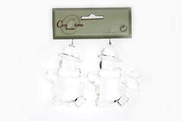hangdeco acryl sneeuwman transparant (2sts)