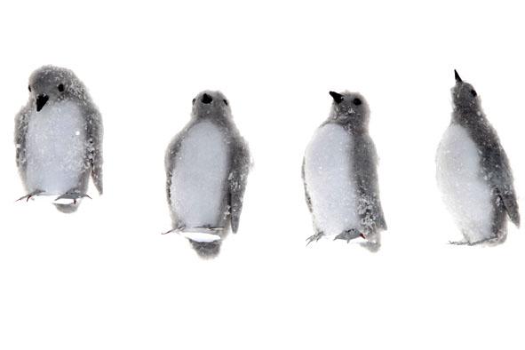 hangdeco staande pinguin snowy grijs (4ass.)