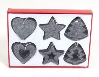 hangdeco vilt ornamentjes grijs (24sts)
