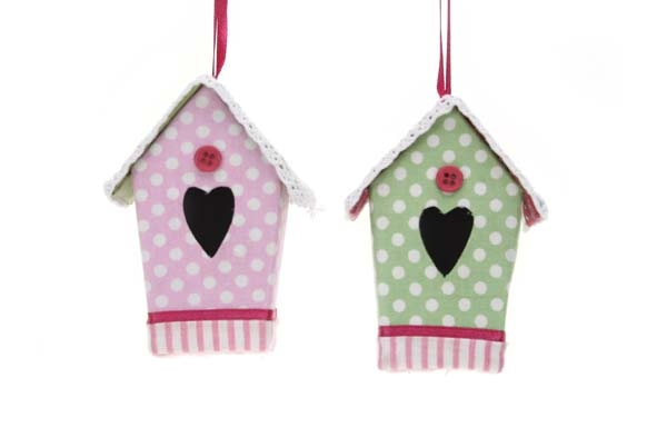hangdeco vogelhuis roze/groen