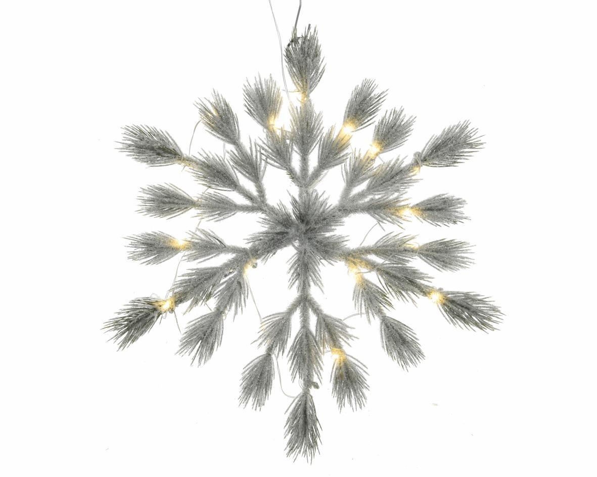 hanger pe sneeuwvlok pre-lit groen/wit (b/o)