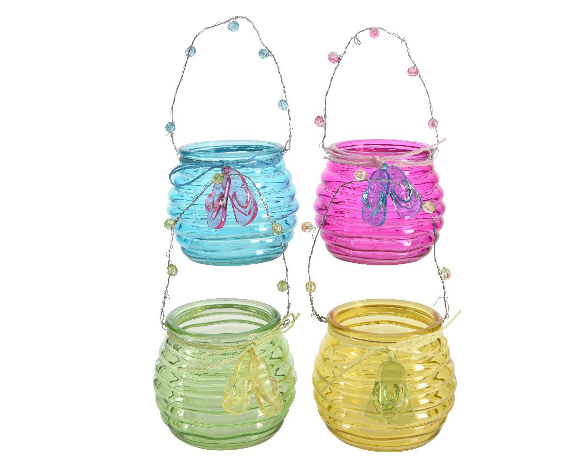 hanger windlicht glas (4 kleuren ass.)