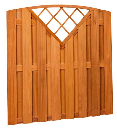 hardhouten plankenscherm toog verticaal met v-trellis