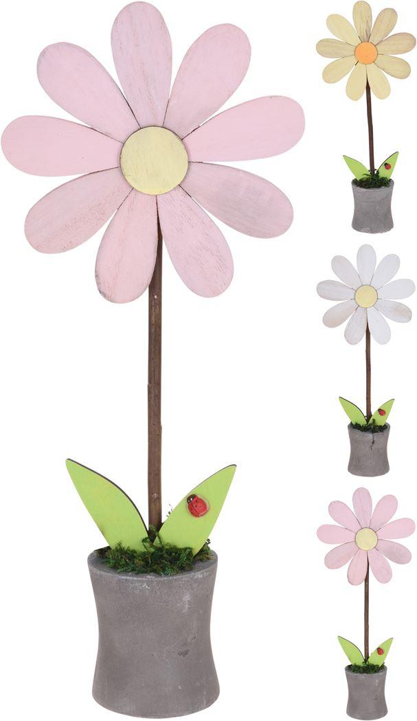 houten bloem in pot (3 kleuren ass.)