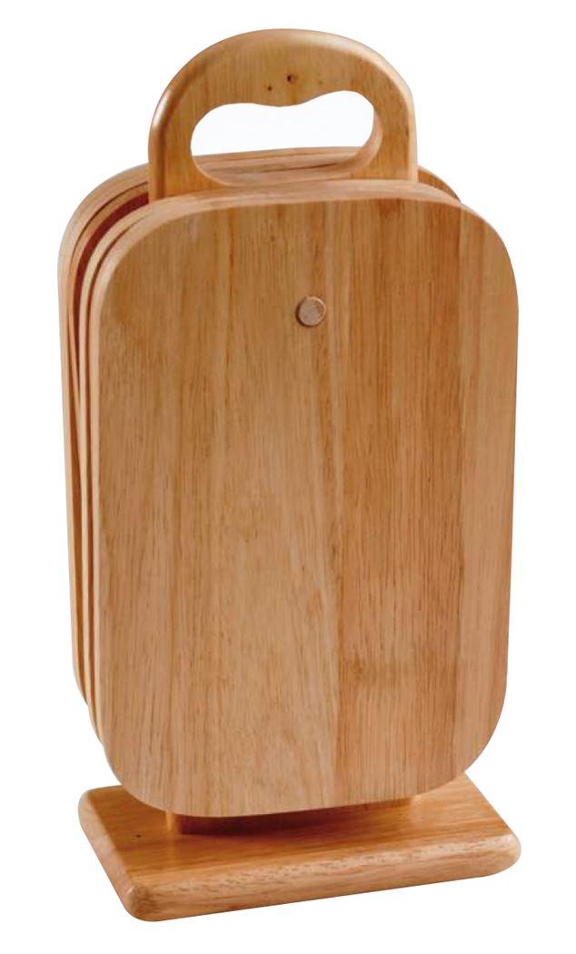 houten broodplanken met houder (7-delig)