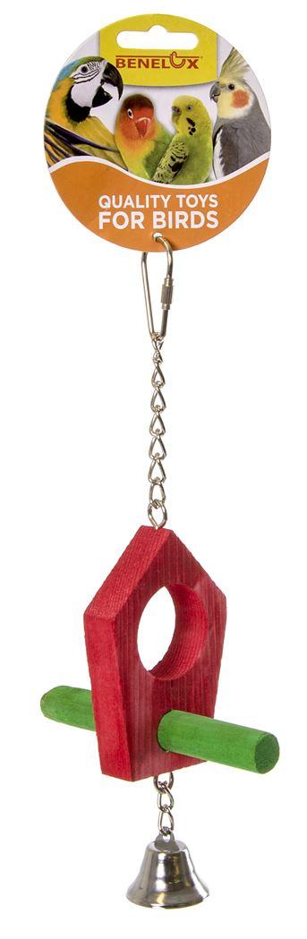 houten dubbele zitstok met bel