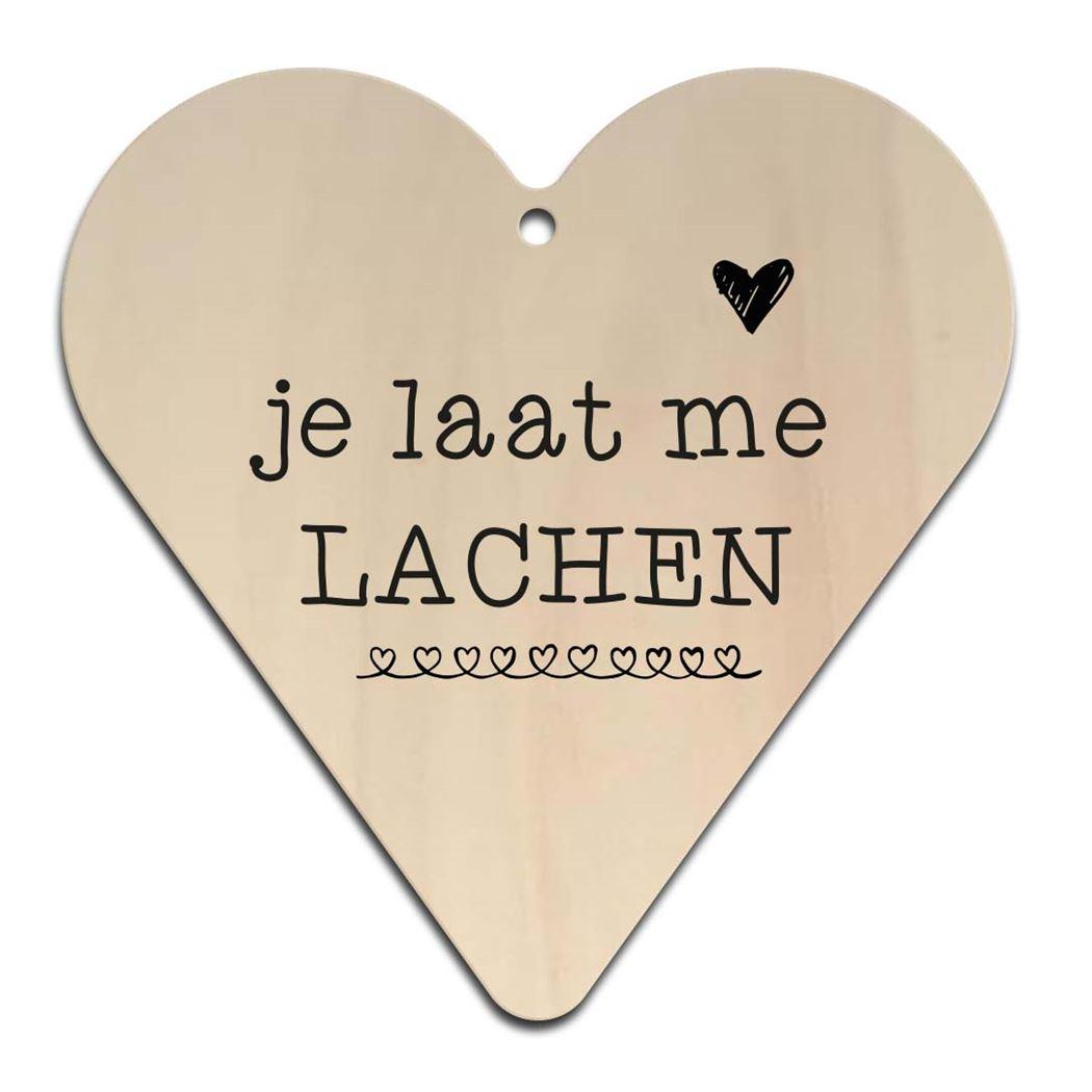 houten gift heart - je laat me lachen