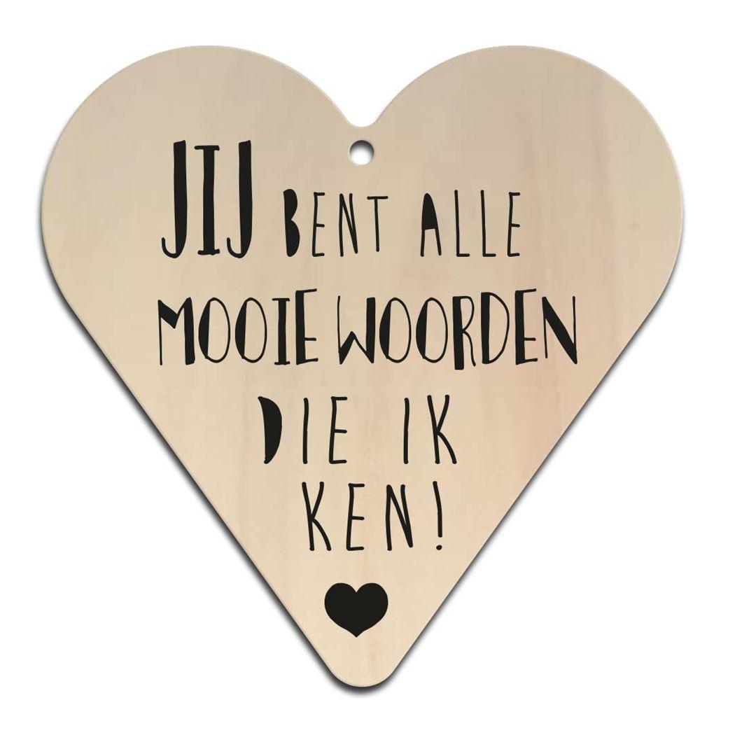 houten gift heart - mooie woorden
