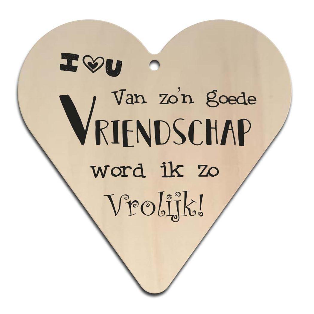 houten gift heart - vriendschap