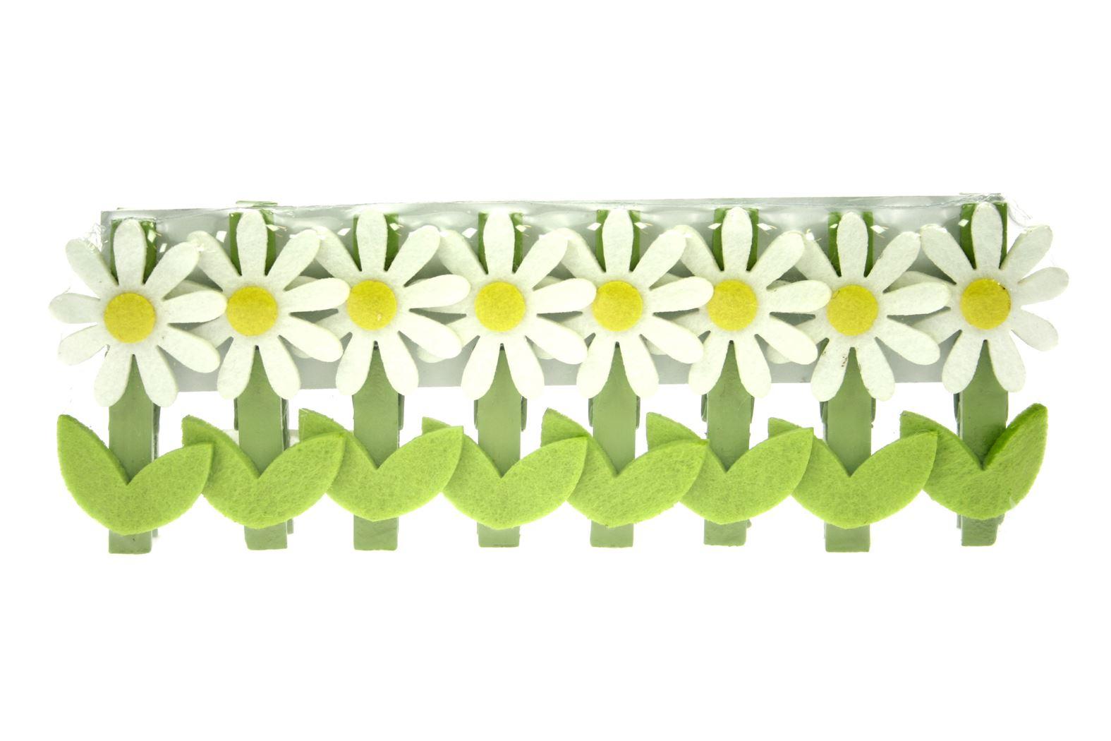 houten knijper madeliefje wit/groen (8sts)