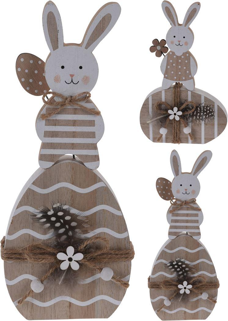 houten konijn op ei (2ass.)