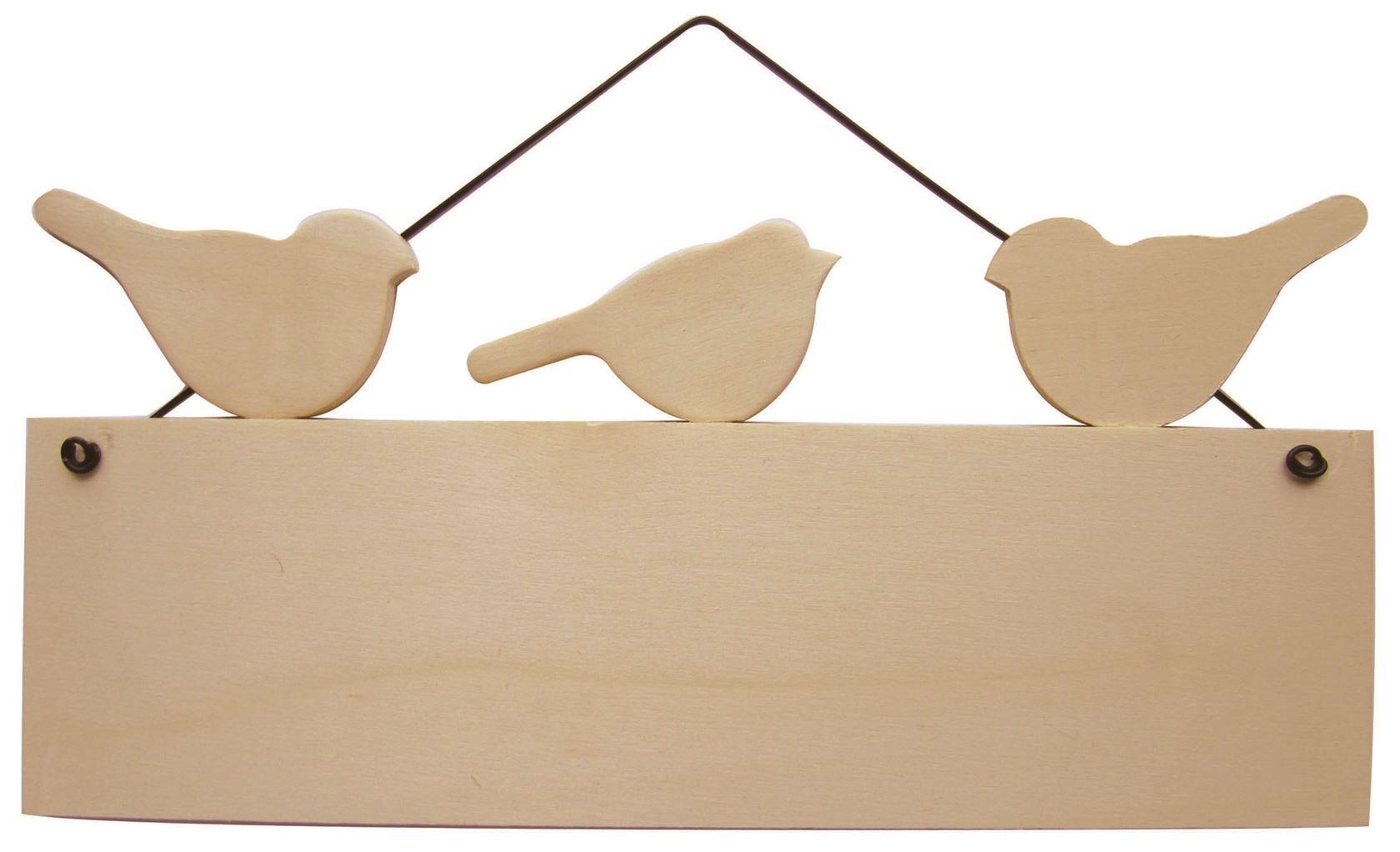 houten paneel met 3 vogels