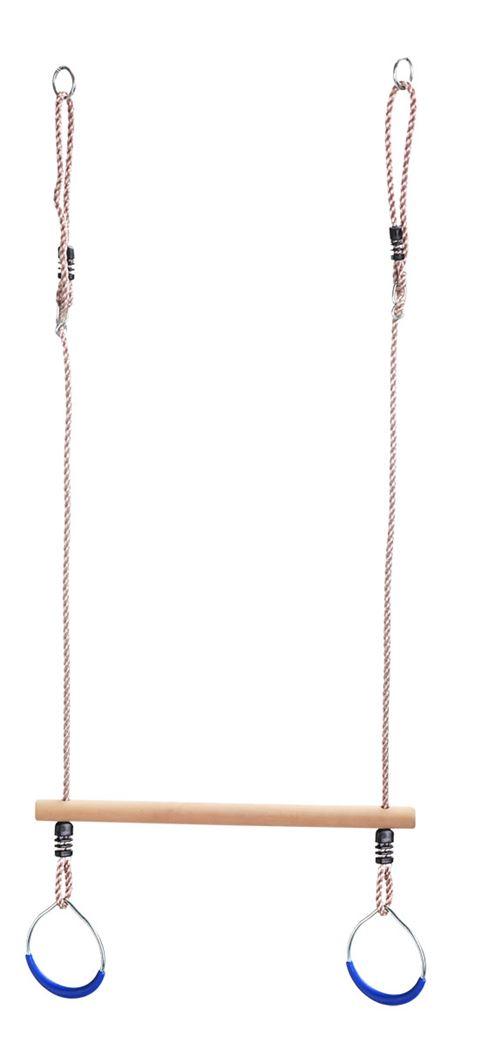 houten trapeze met metalen ringen