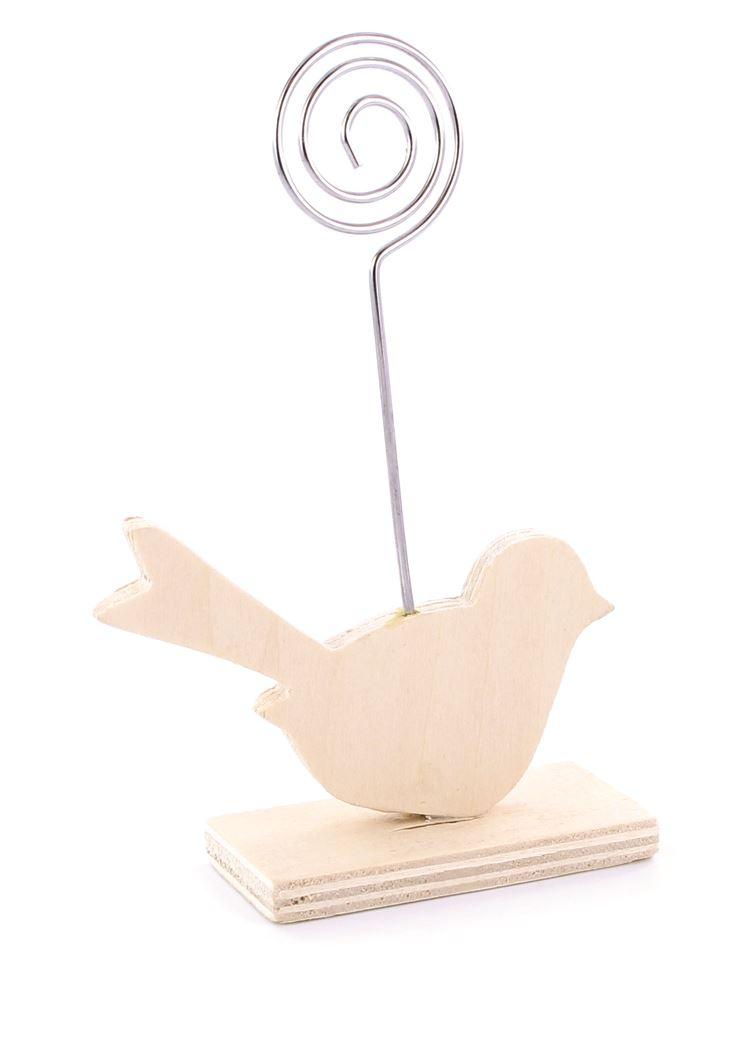 houten vogel met foto clip