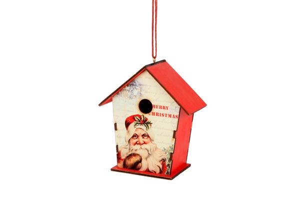 houten vogelhuisje kerstman rood hanger