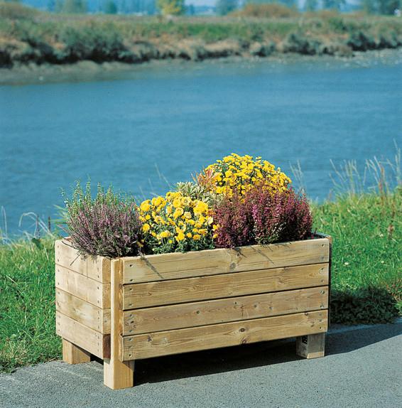 bloembak in horizontale planken grenen