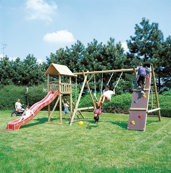 klimmuur, dubbele schommel en speeltoren