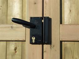 oplegslot met klink en cylindersleutel links dubbel