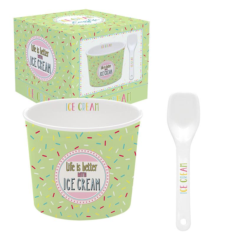 ice cream bowl met lepel green