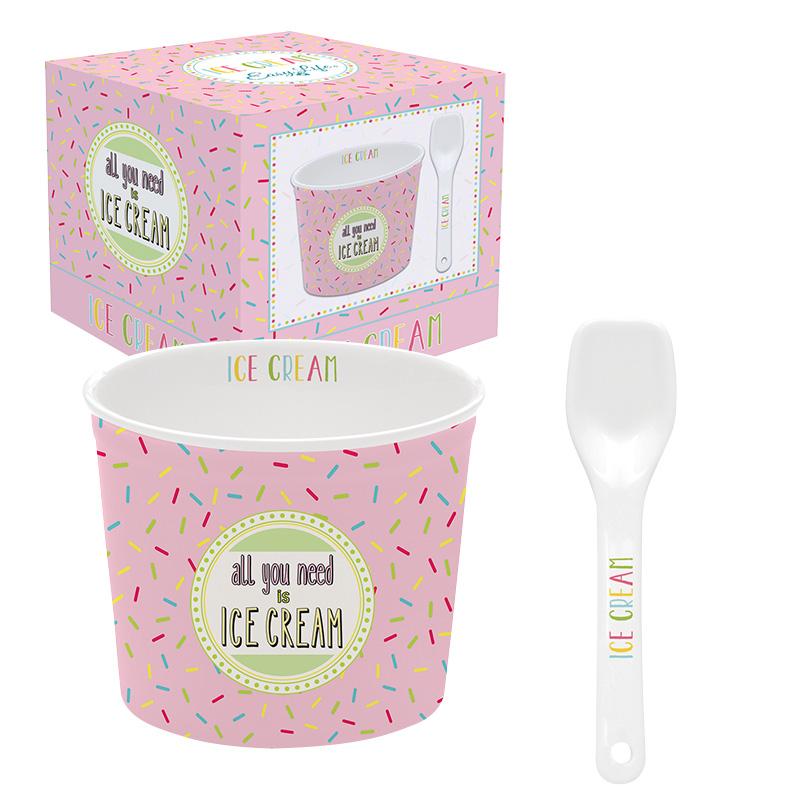 ice cream bowl met lepel pink