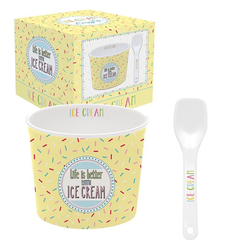 ice cream bowl met lepel yellow