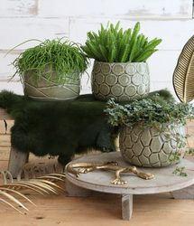 ideas mila pot crackle glaze green (3ass.)