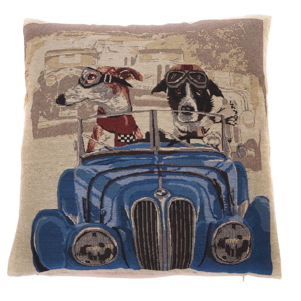itm kussen napoleon hond in auto blauw