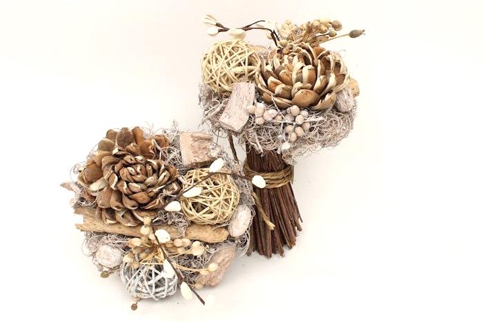 jac bouquet flower whitewash stalk brown