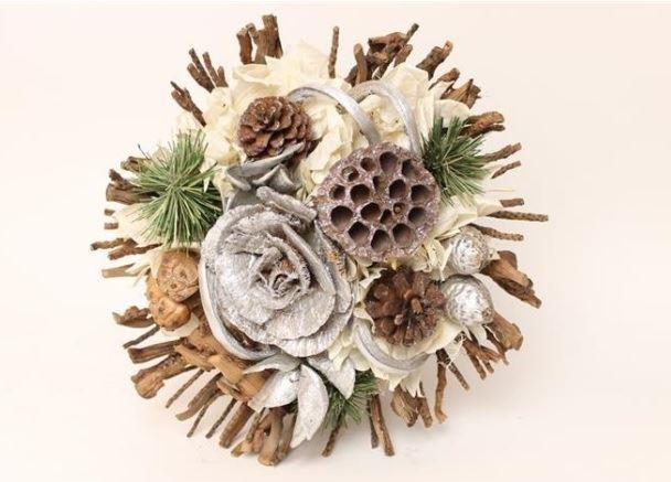 jac bouquet large pinecone silver