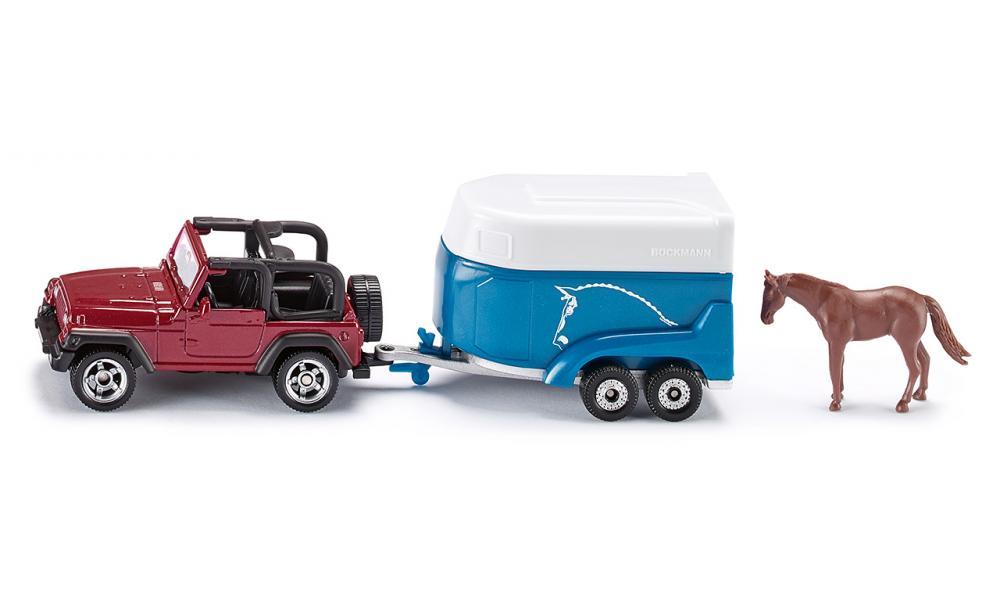 jeep met paardenaanhanger