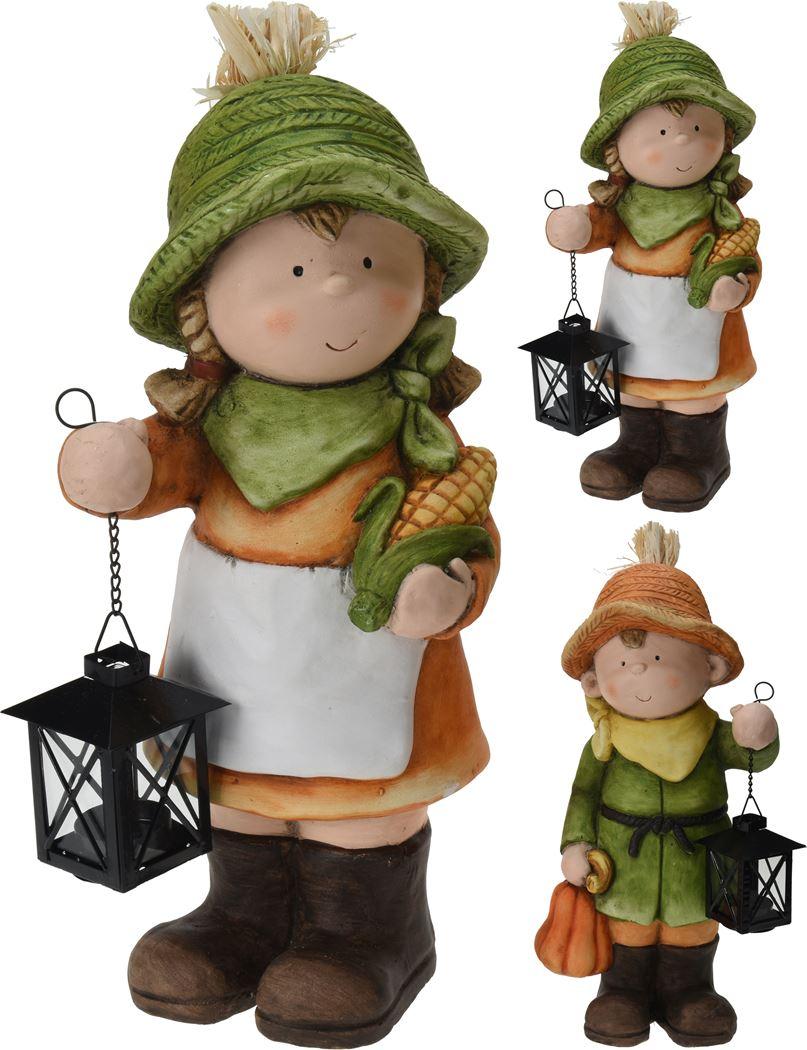 jongen/meisje keramiek met lantaarn (2ass.)
