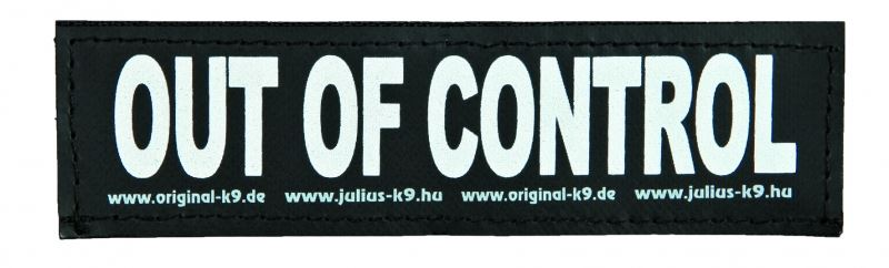 julius-k9 velcro sticker large out of control (2sts)