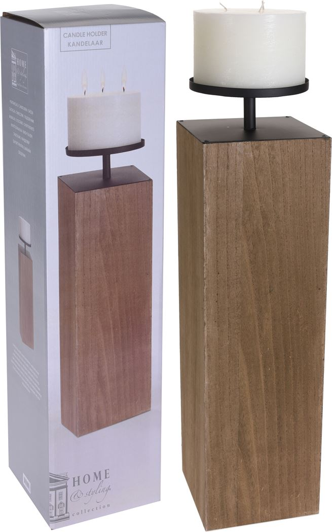 kandelaar houten blok