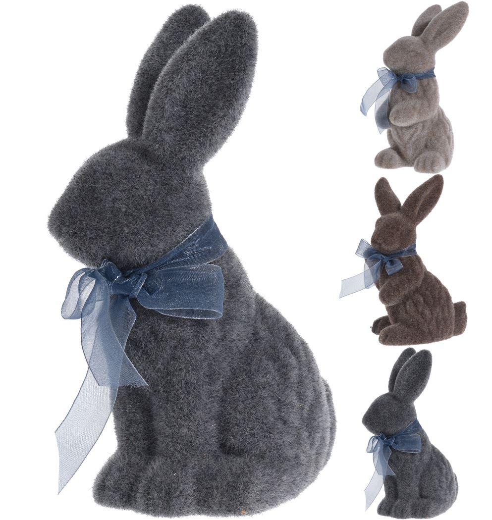 keramiek konijn flocked (3ass.)