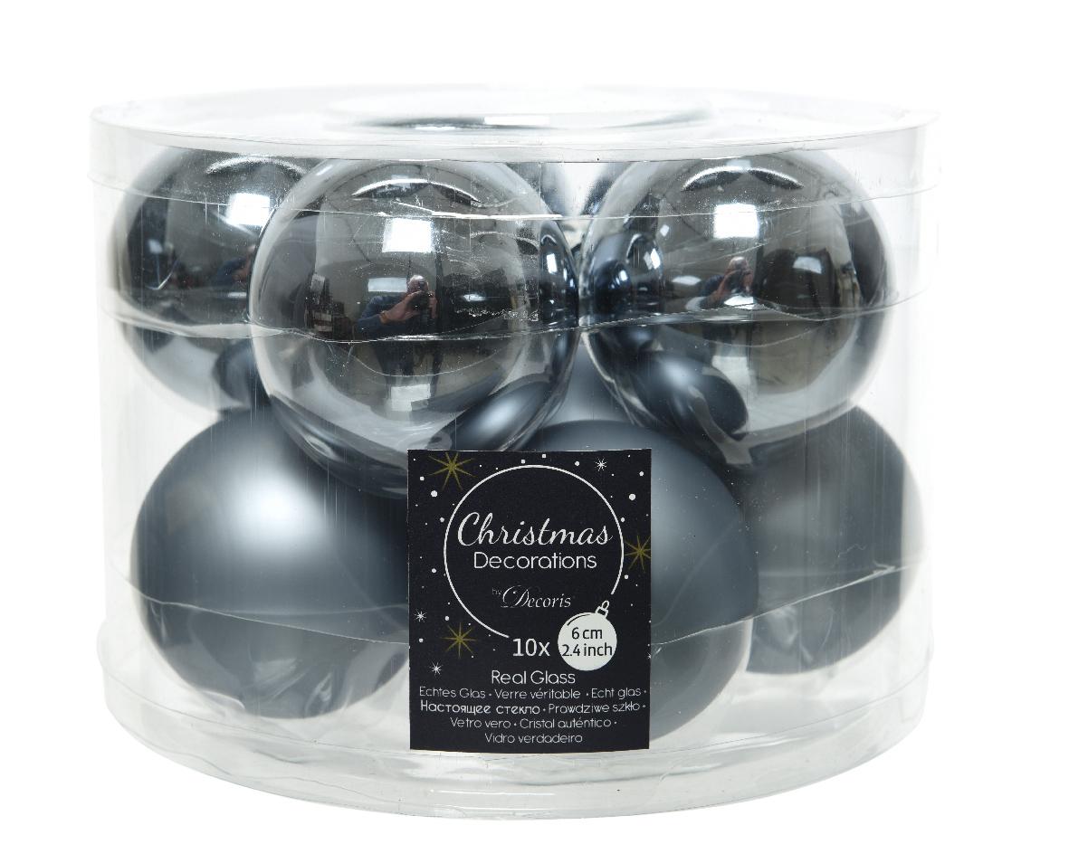 kerstbal glas glans-mat steen blauw (10sts)