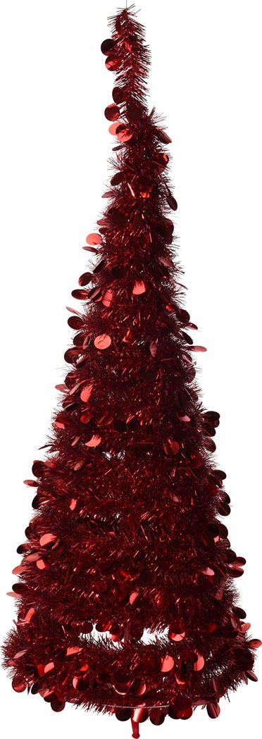 kerstboom lametta rood