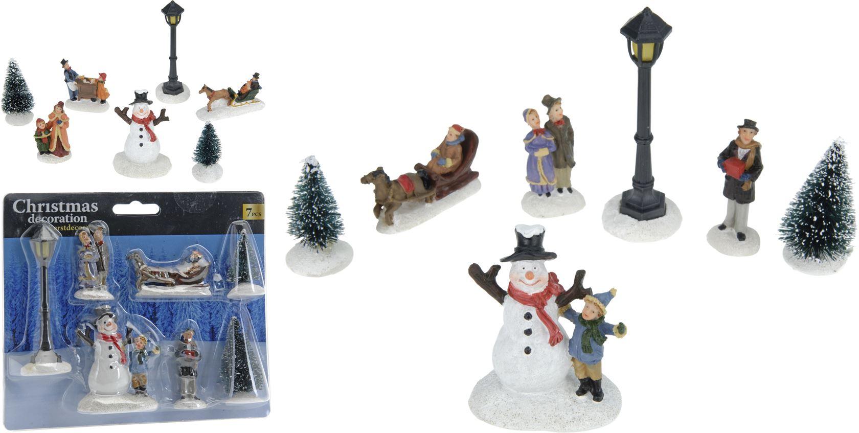 kerstdecoratie set (7sts)(2ass.)