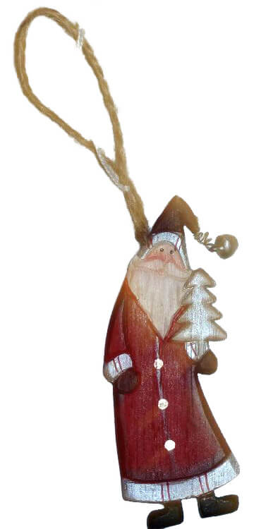 kerstman met boom rood