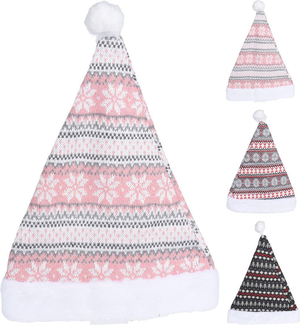 kerstmuts roze/grijs (3ass.)