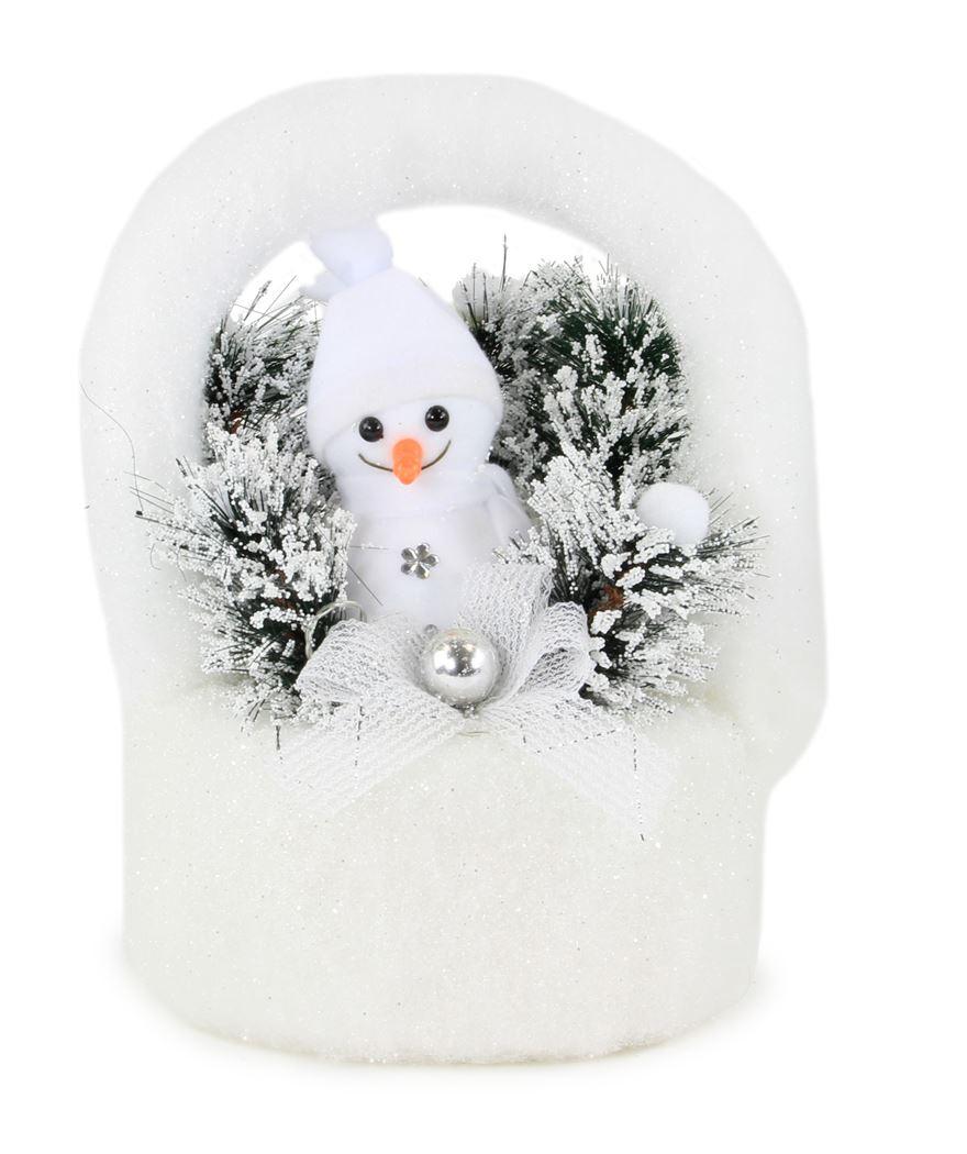 kerststuk met verlichting - mand met sneeuwman (b/o)