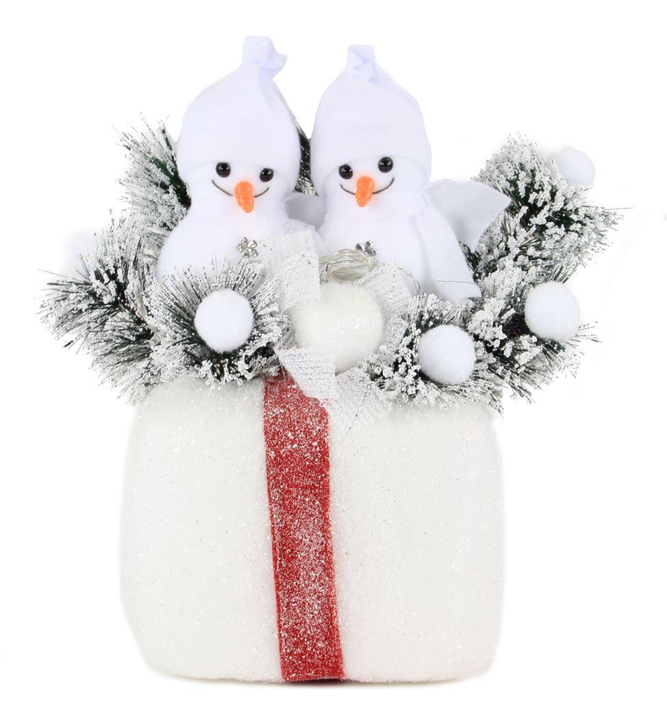 kerststuk met verlichting - pakje met sneeuwmannen (b/o)