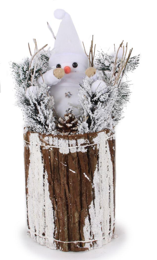 kerststuk met verlichting - stronk met sneeuwman (b/o)