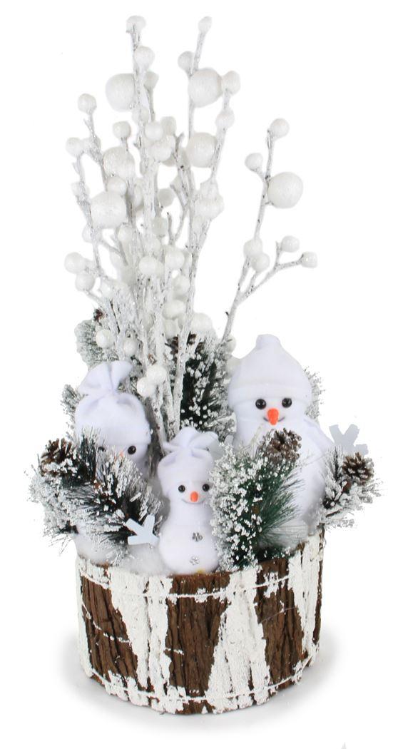 kerststuk met verlichting - stronk met sneeuwmannen (b/o)