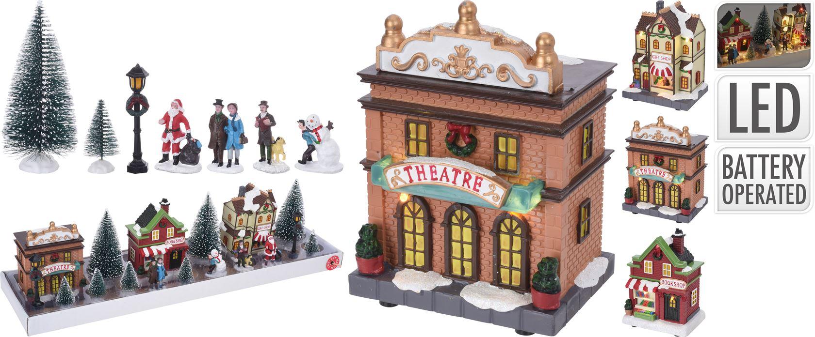 kersttafereel dorp met led set (17-delig)