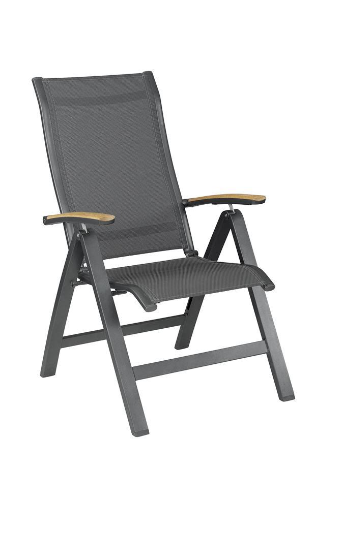 kettler altura curve fauteuil verstelbaar (teak armleuningen) antraciet / antraciet