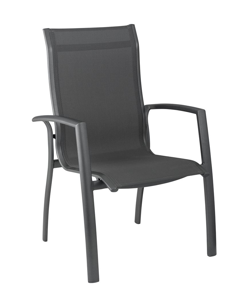 kettler legato curve stapelfauteuil antraciet / antraciet