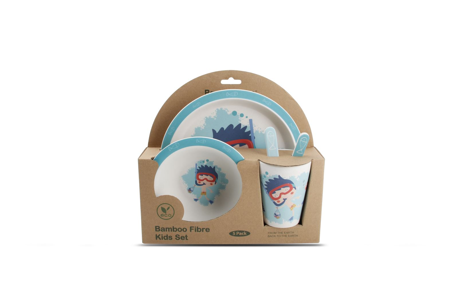 kinderservies bamboe diver boy (5-delig)