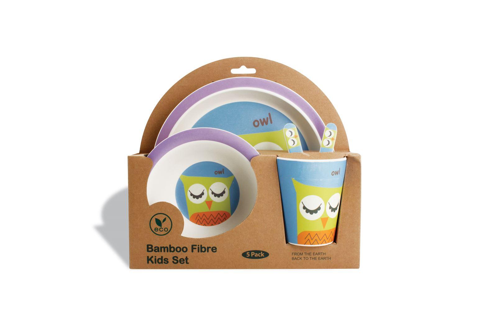 kinderservies bamboe owl (5-delig)