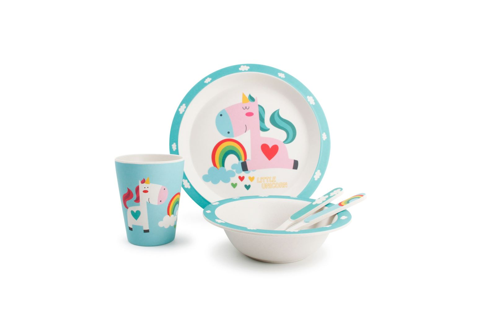 kinderservies bamboe unicorn (5-delig)