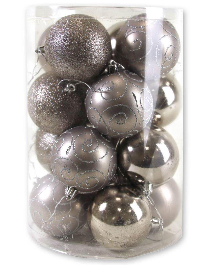 plastieken kerstbal lichtgrijs (16sts)
